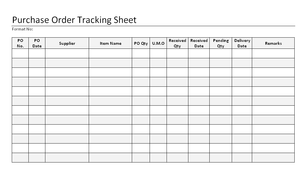 This work order tracker template uses a table and conditional formatting to help you stay organized. Purchase Order Tracking Sheet