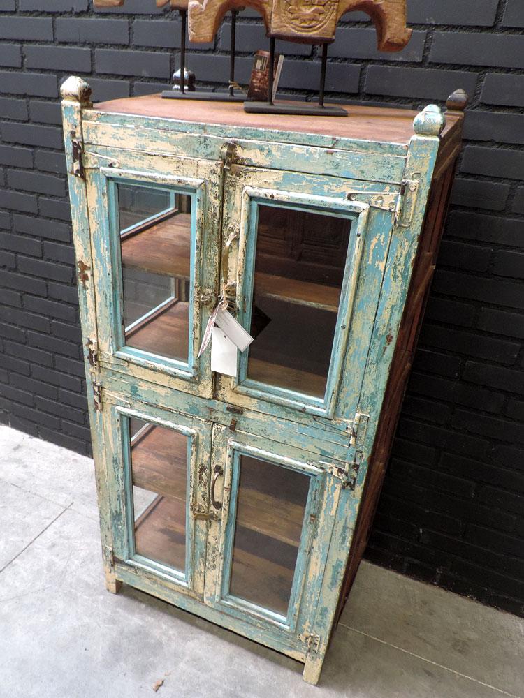 Houten Almirah kast glazen deuren