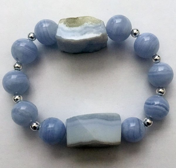 Double Blue Chalcedony PEace Bracelet