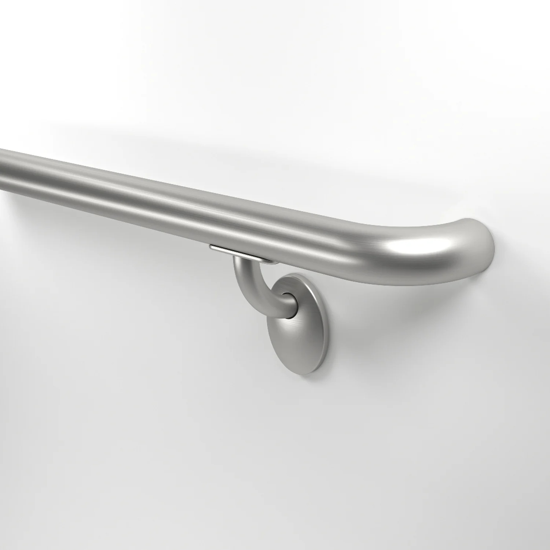 Round Stainless Steel Handrails Inpro Corporation | Brushed Stainless Steel Handrail | Rectangle | Glass Panel Wooden Handrail | Brushed Chrome | Matte Finish | Flat Bar Steel