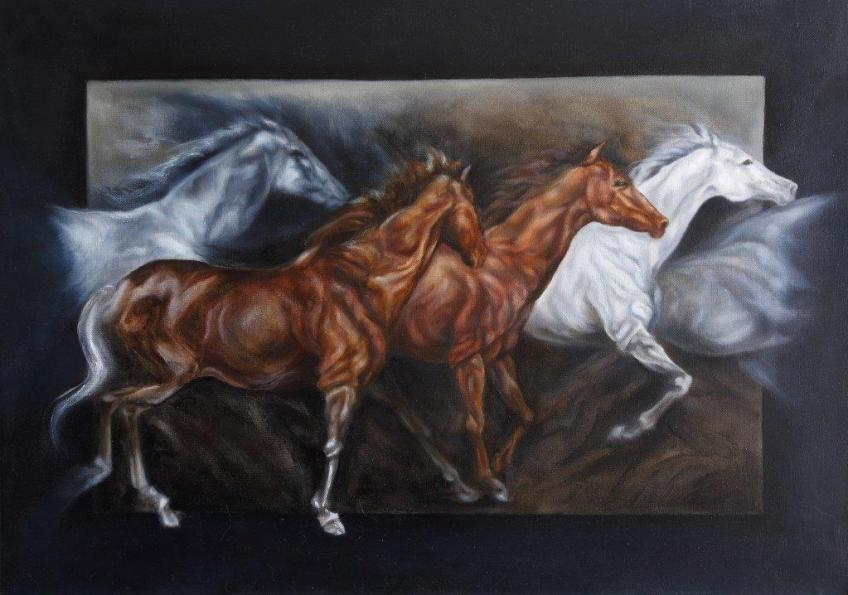 Annamaria Maremmi, 'Cavalli in corsa', olio su tela cm 50x70, 2014