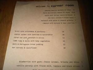 The Corner Room Menu