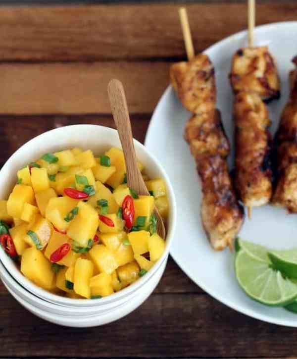 Marinated Chicken Skewers wtih Mango Salsa