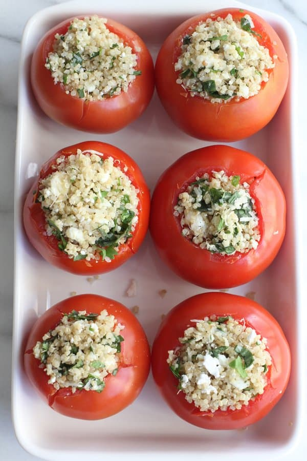 Quinoa and Goat Cheese Stuffed Tomatoes - Inquiring Chef