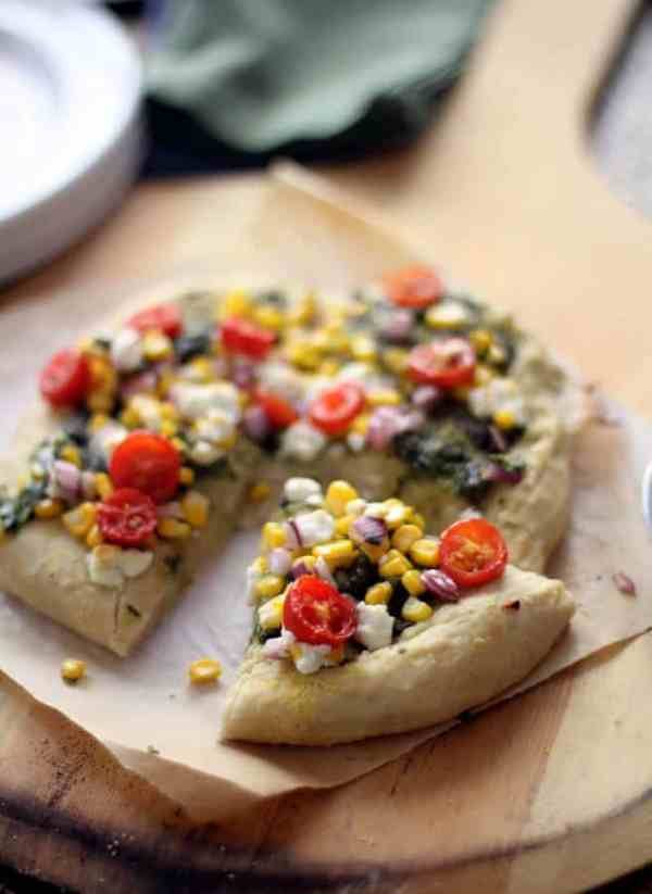 Sweet Corn Pesto Goat Cheese Pizza