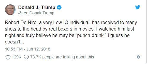 Capture2-1 Trump për De Niron: Mbase është në kllapi për shkak të lëndimit të trurit