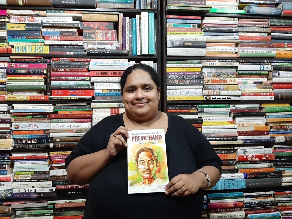 Fiza Pathan with 'Premchand: His Life and Works' by Hansraj Rahbar.jpg