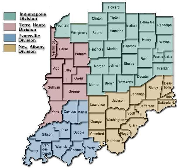 This map shows cities, towns, counties, interstate highways, u.s. District Map Southern District Of Indiana United States District Court