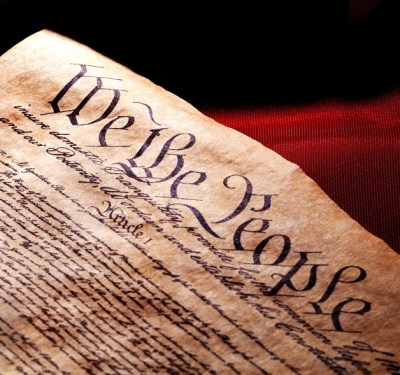 US Constitution and flag.