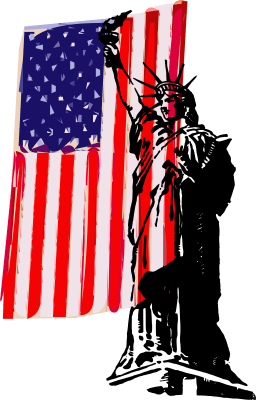 statue liberty and flag