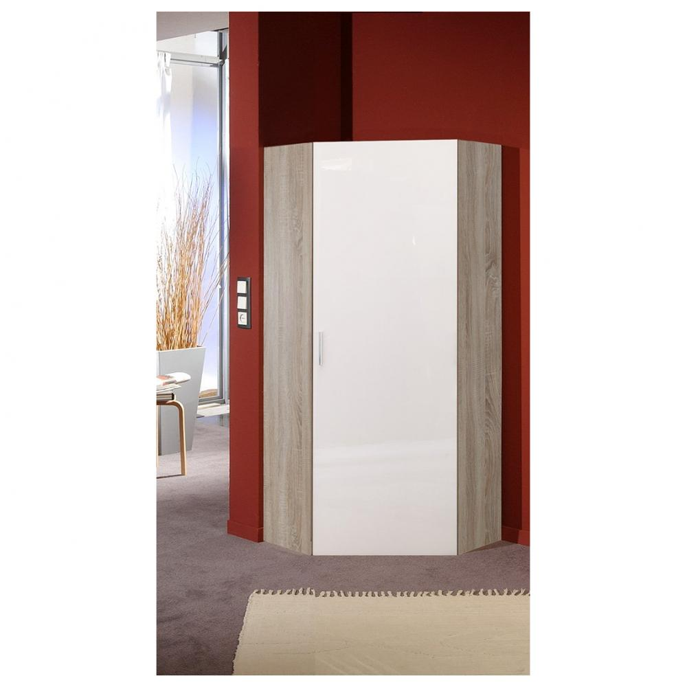 armoire dressing d angle malta chene 1 porte laquee blanc casse 80 x 80 cm