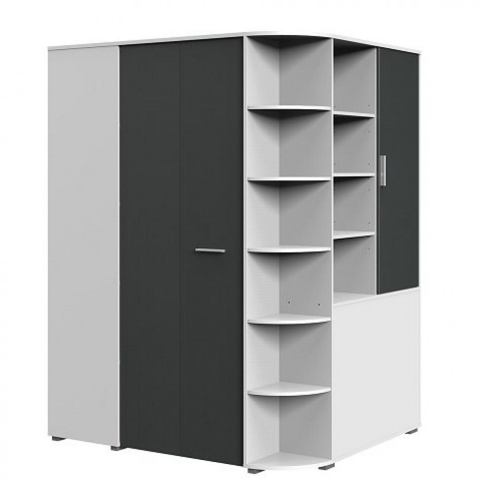 armoire dressing d angle volverine blanc gris graphite
