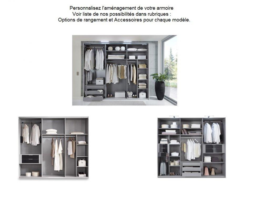 armoire 2 portes coulissantes 225 cm caramella blanc