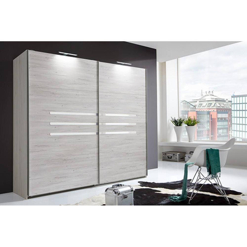 armoire 2 portes coulissantes 225 cm caramella chene blanchi