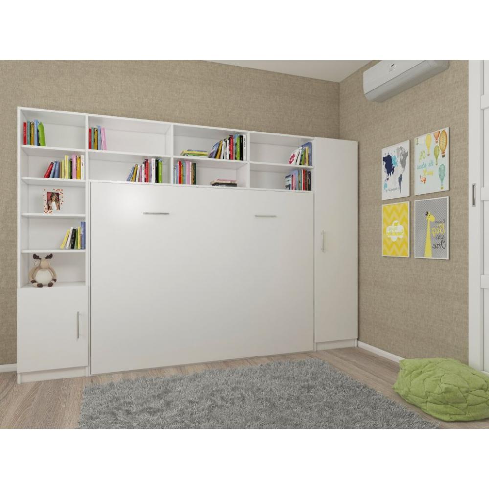 composition armoire lit horizontale strada v2 blanc mat couchage 140cm avec surmeuble et 2 colonnes rangements