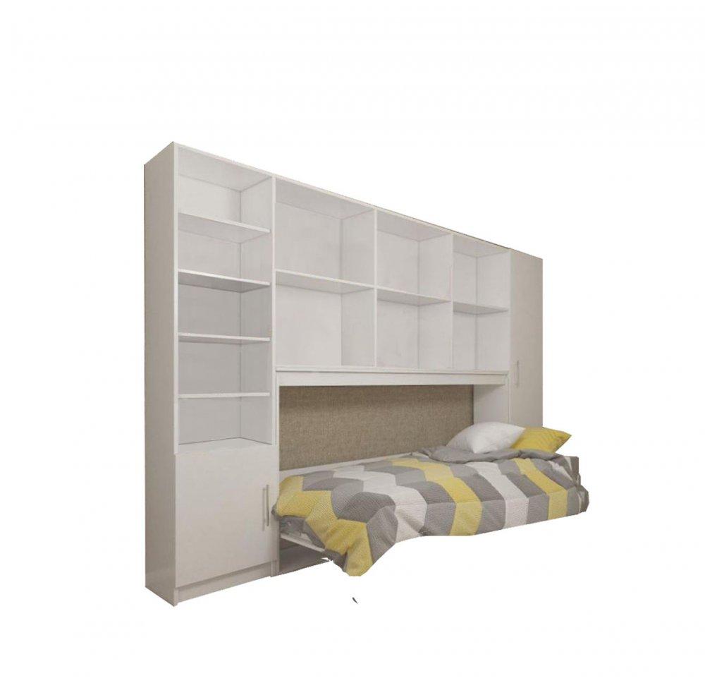 composition armoire lit horizontale strada v2 blanc mat couchage 90cm avec surmeuble et 2 colonnes rangements
