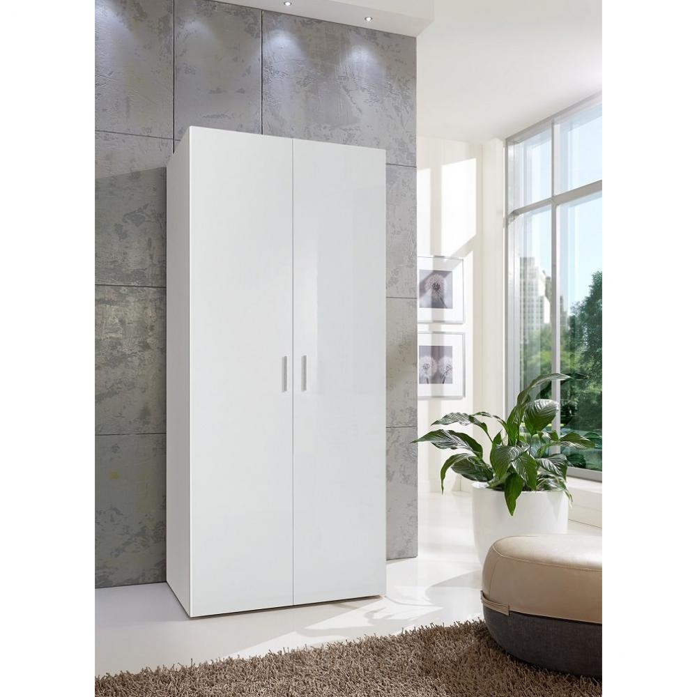 armoire penderie 2 portes malta laquee blanc casse l 80 cm