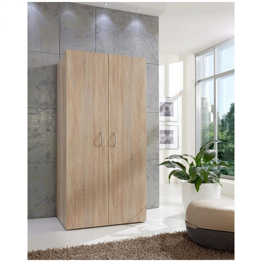 armoire de rangement etageres lund chene naturel 80 x 40 cm profondeur