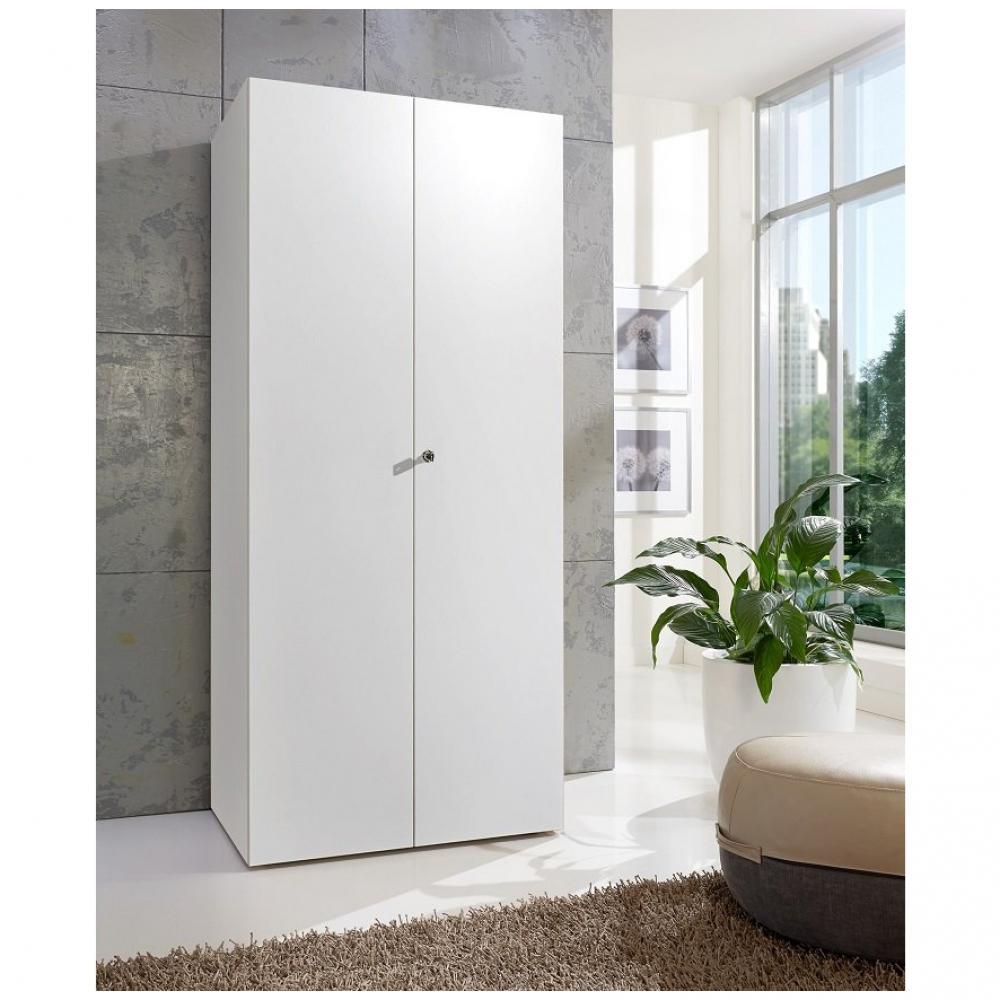 armoire de rangement avec serrure lund 2 portes blanc mat 80 x 40 cm profondeur