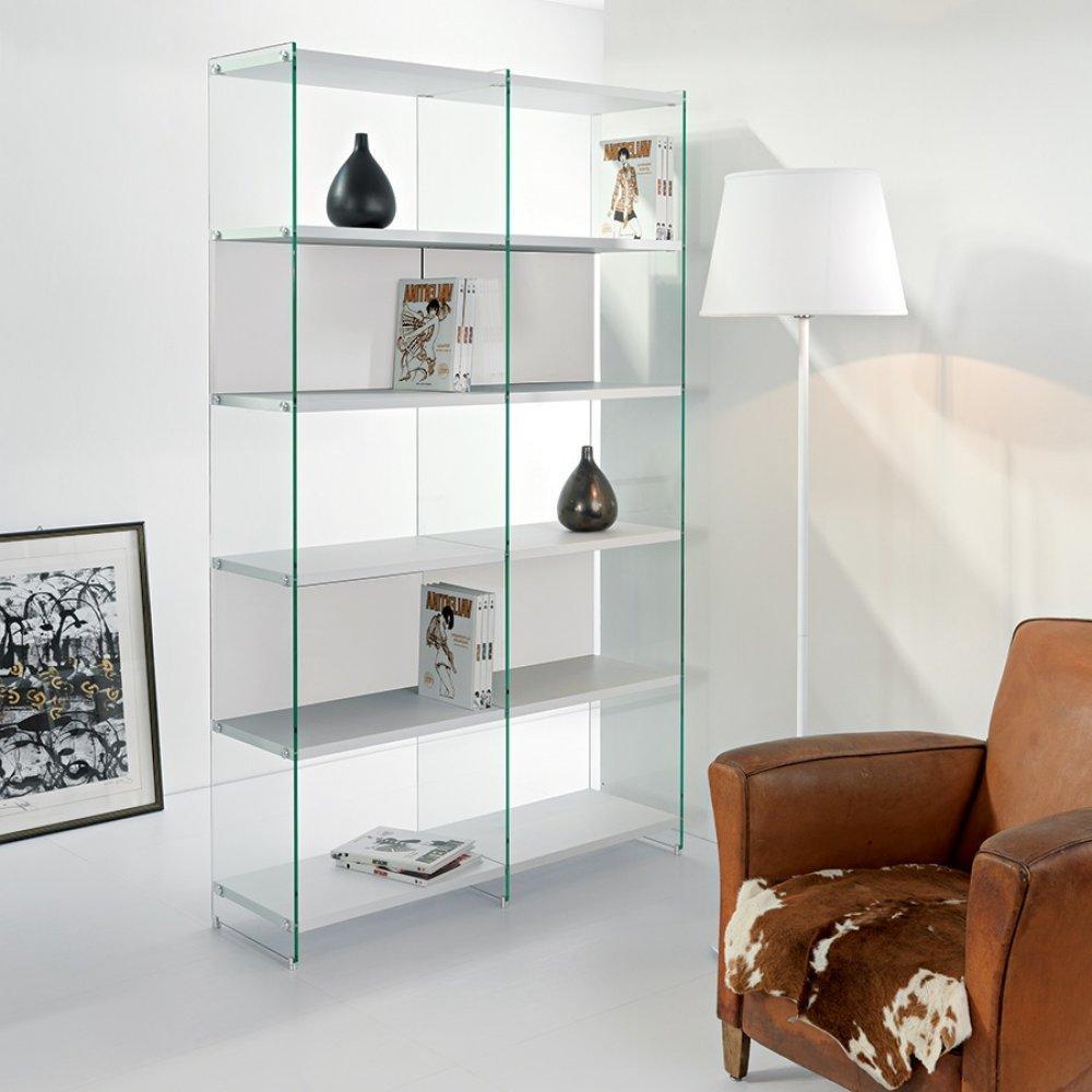 bibliotheque babylone blanc ceruse et verre