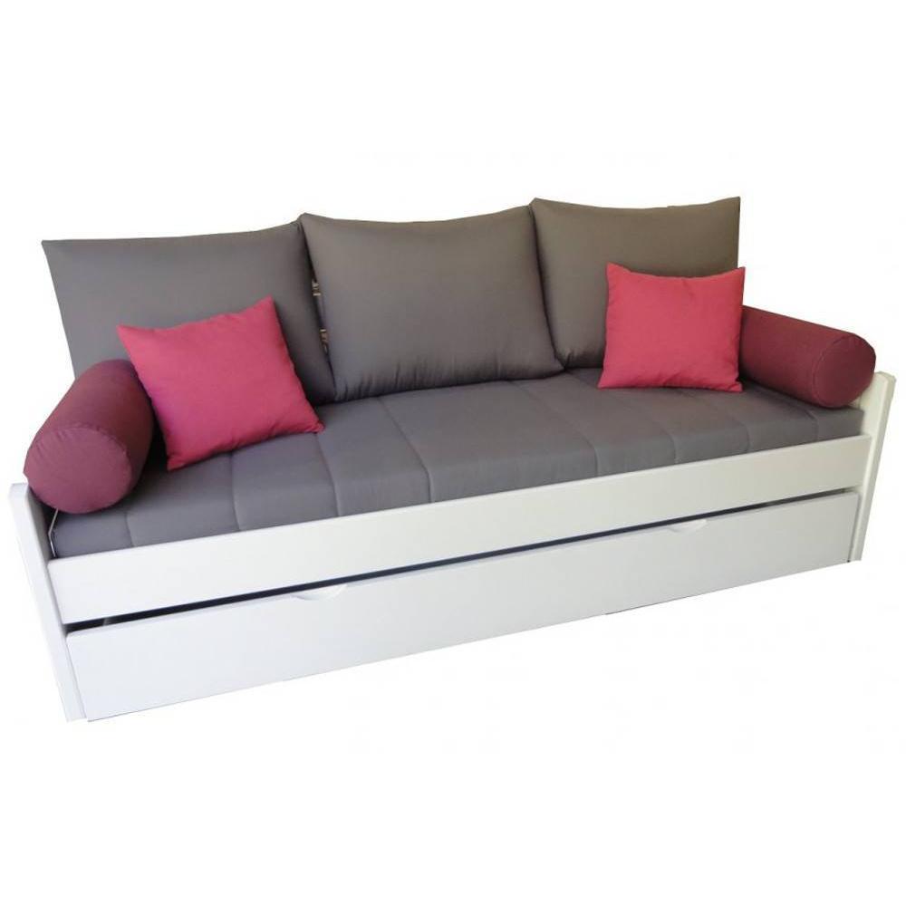 banquette gigogne arsene grise matelas confort bultex 80 190cm
