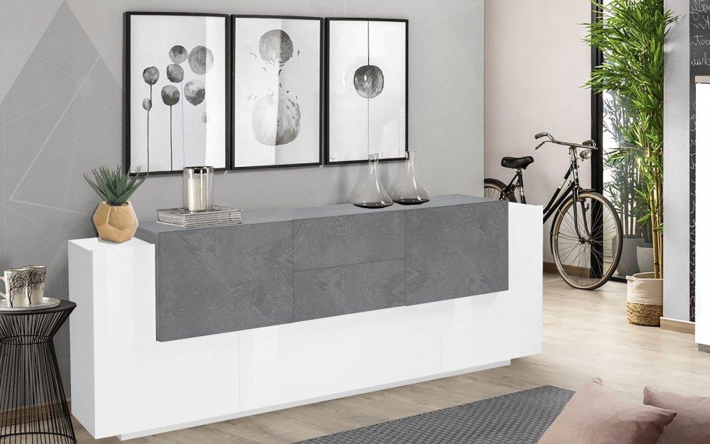 buffet design bi color coro 220 cm finition blanc laque brillant gris ardoise
