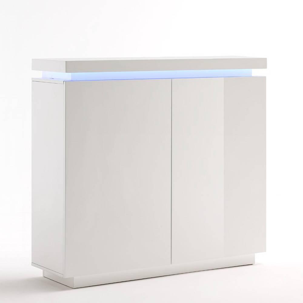buffet haut ocean laque blanc brillant 2 portes led inclus