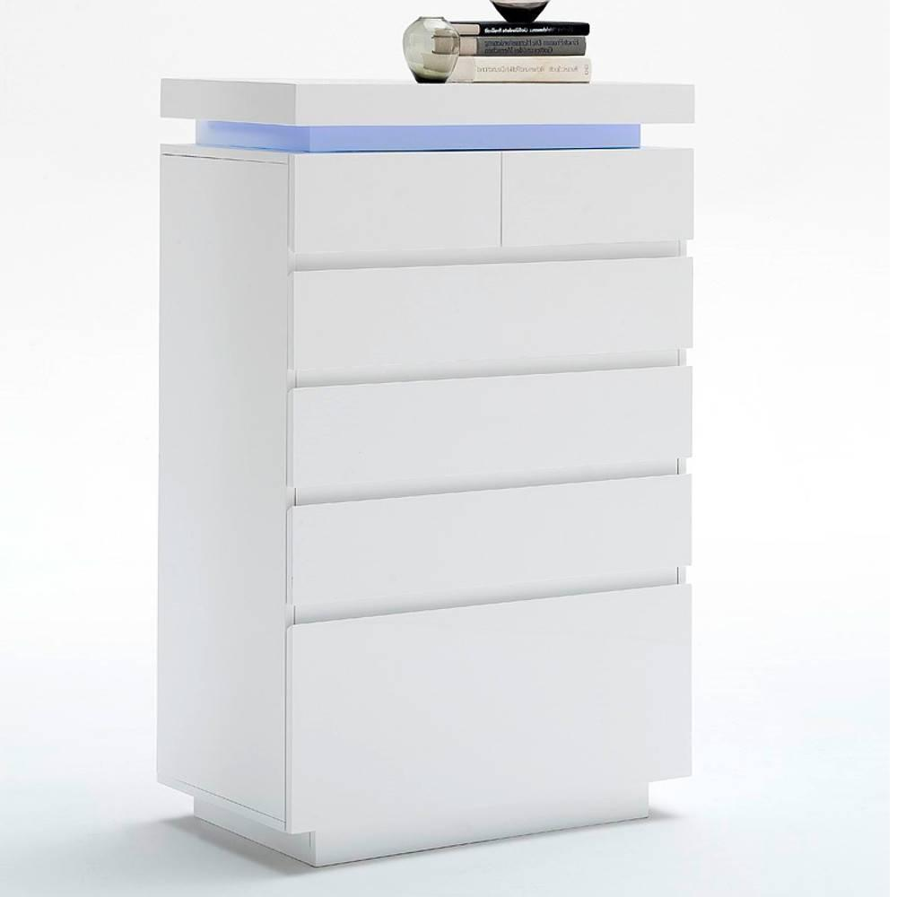commode haute ocean laque blanc brillant 6 tiroirs led blanc inclus
