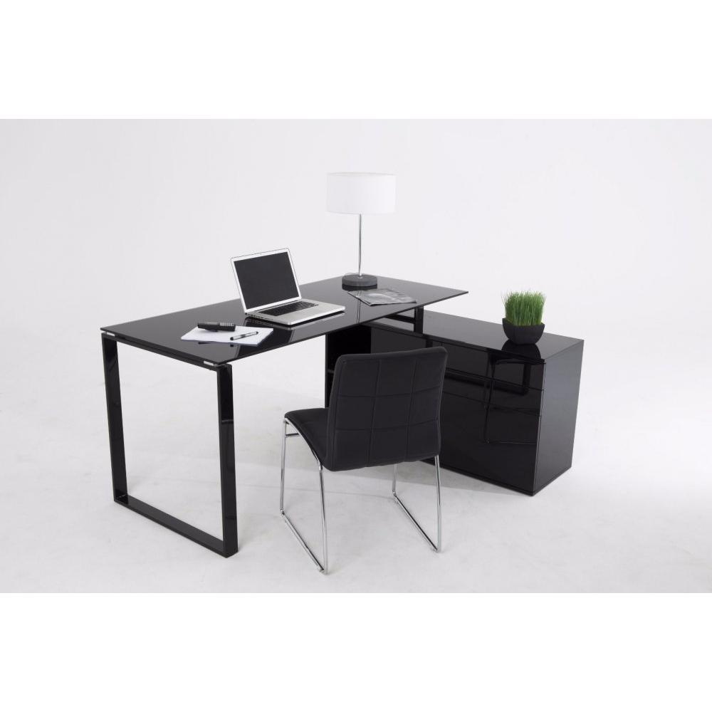 delia bureau en verre noir avec caisson