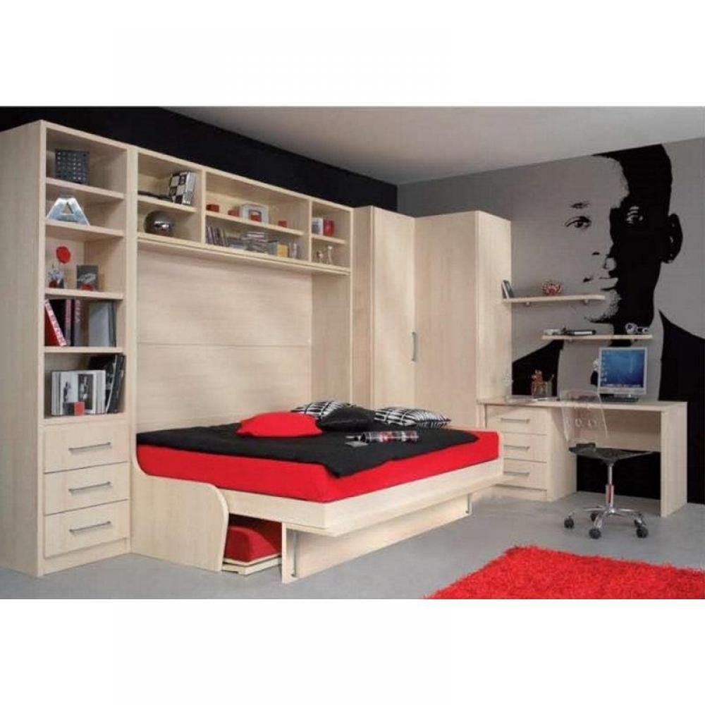 armoire lit escamotable combine bureau