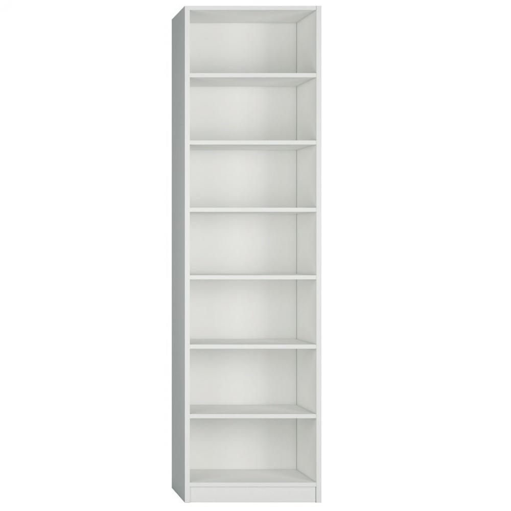 colonne bibliotheque 6 etageres coloris blanc mat largeur 50 cm