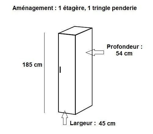 colonne de rangement lund penderie blanc mat largeur 45 x 54 cm profondeur