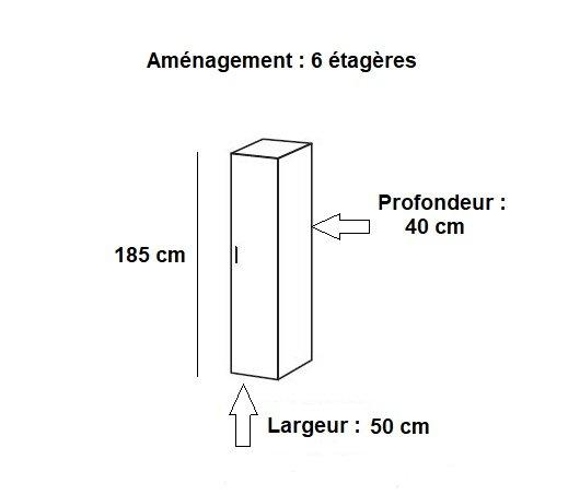 colonne de rangement lund 1 porte blanc mat largeur 50 x 40 cm profondeur