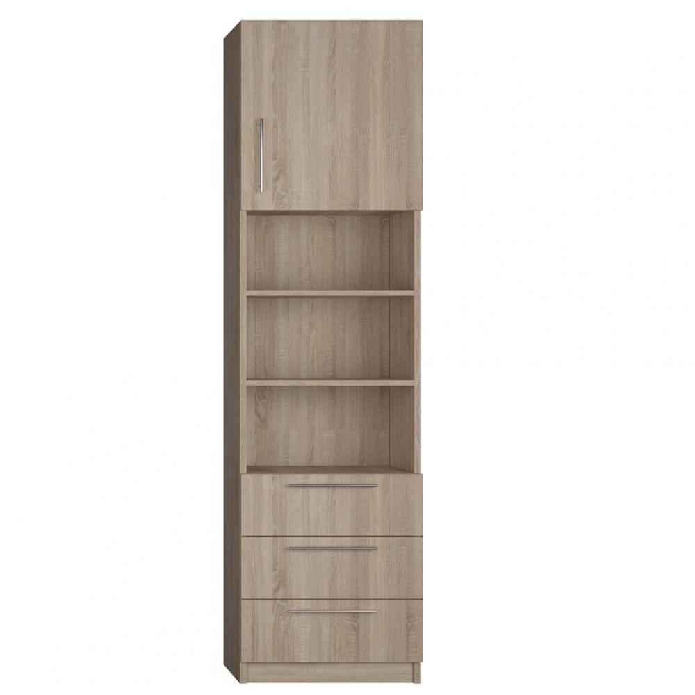 colonne de rangement 1 porte haute bibliotheque centrale 3 tiroirs finition chaªne naturel largeur 50 cm