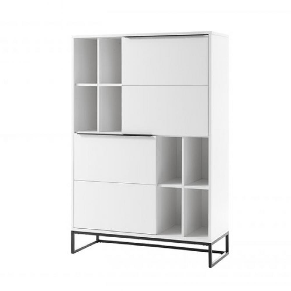 bibliotheque luard blanc laque mat 2 portes 8 niches pietement metal noir