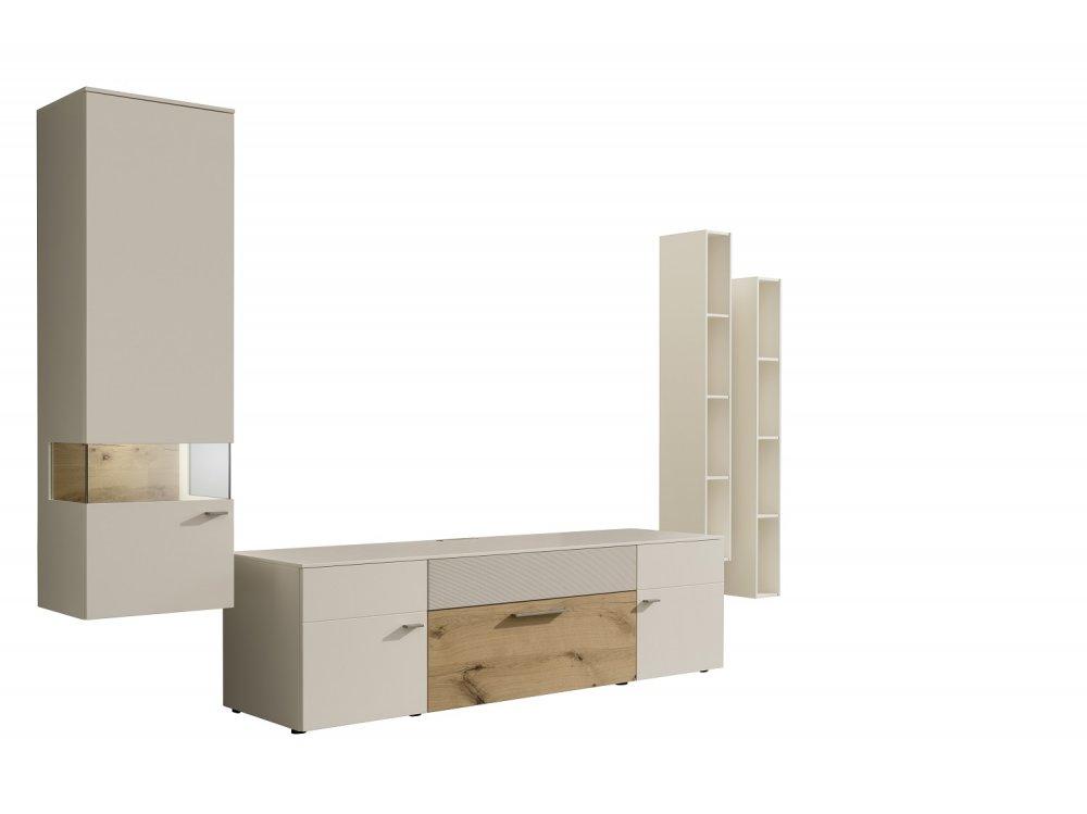 composition murale meuble tv anzio holz blanc laque mat 4 elements
