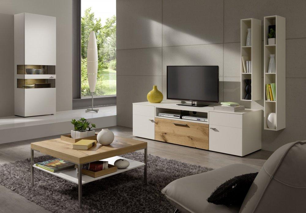 composition murale meuble tv anzio holz blanc 3 elements
