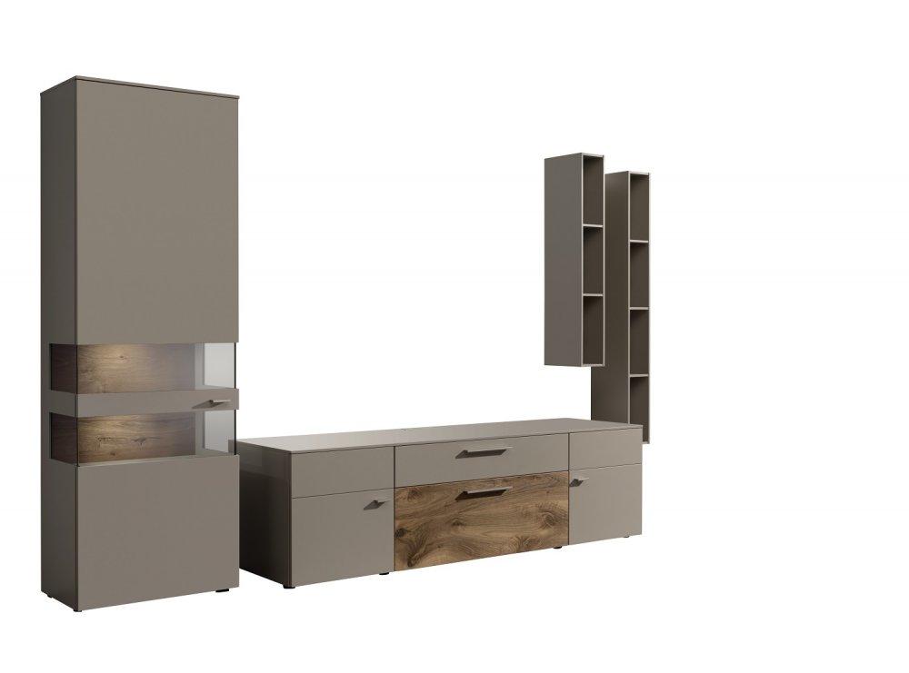 composition murale meuble tv anzio holz laque taupe 4 elements