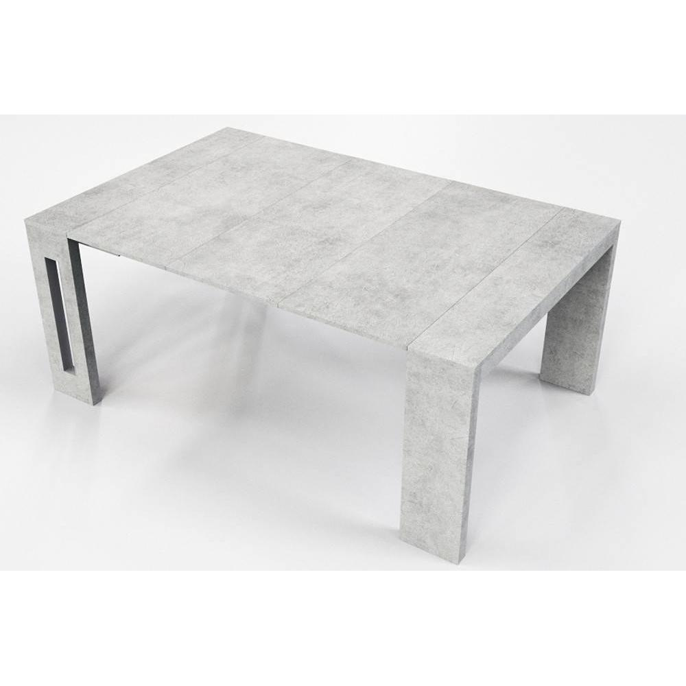 table console extensible 10 couverts topaz 120 cm beton avec allonges integrees