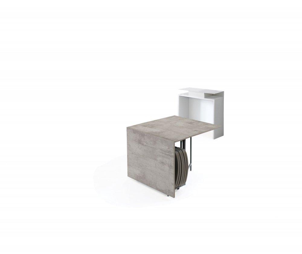 console extensible design balto plus avec tables depliables gris beton chaises integrees blanc mat structure blanc