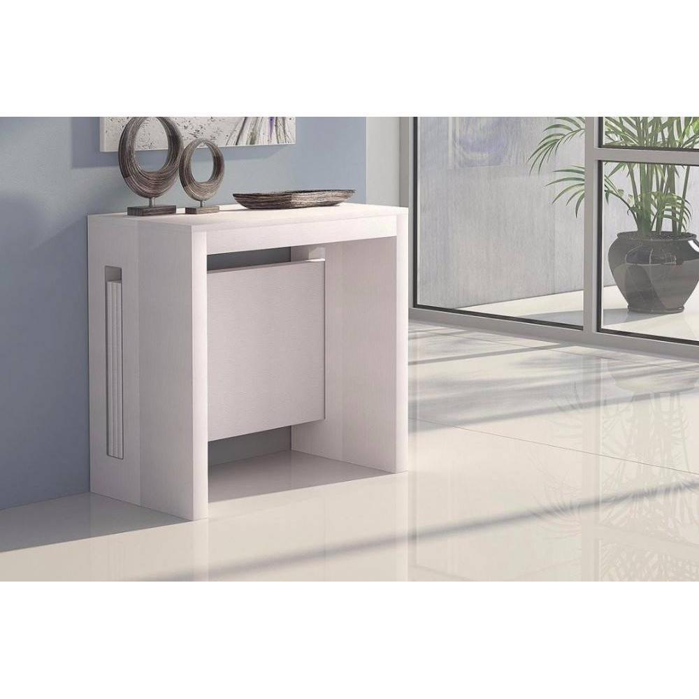 table console extensible grandezza chene blanc jusqu a 8 couverts avec allonges integrees