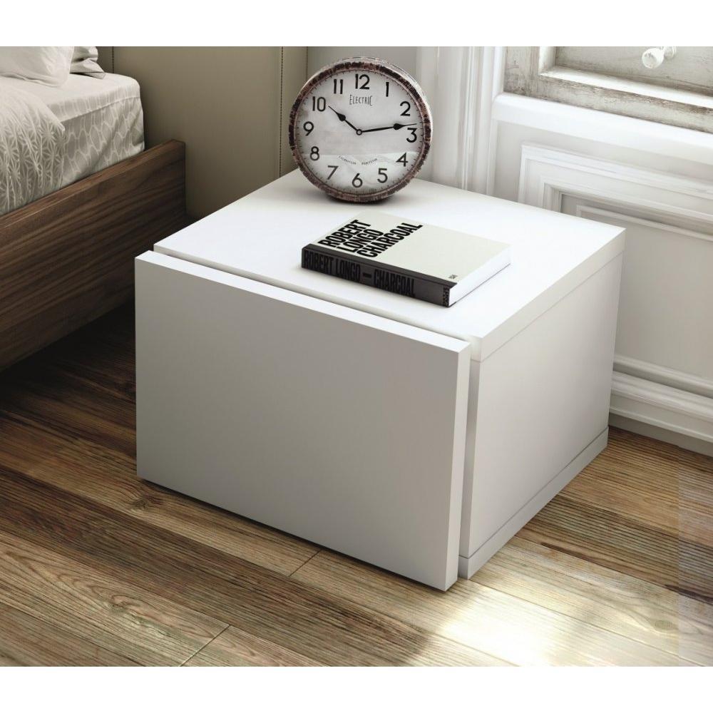 float chevet laque blanc brillant avec tiroir