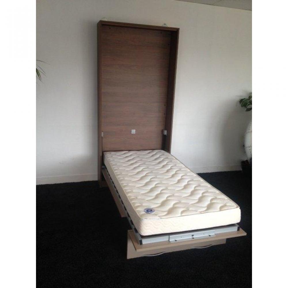 armoire lit murale 1 place lit 90cm profondeur 26cm avec matelas 35kg m3