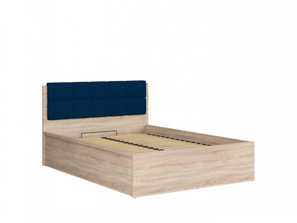 lit coffre fraser melamine chene clair avec tete de lit bleu couchage140 200 cm