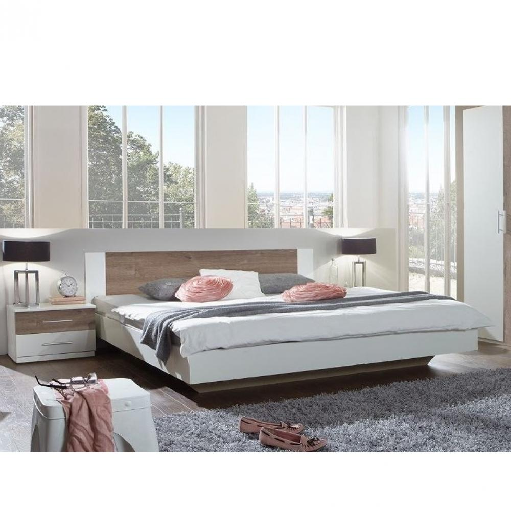 lit design eva couchage 180 x 200 cm blanc rechampis chene chataigne