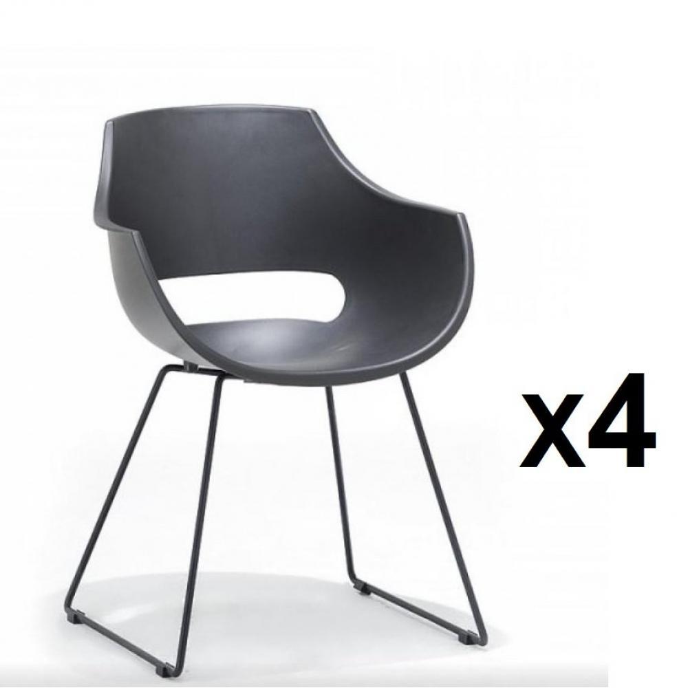 lot de 4 chaises design remo coque noire pietement luge metal noir mat