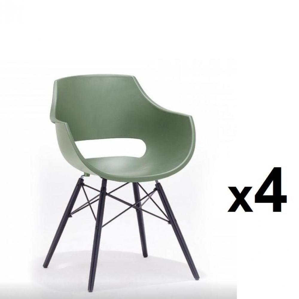 lot de 4 chaises scandinave remo coque verte pietement hetre laque noir mat