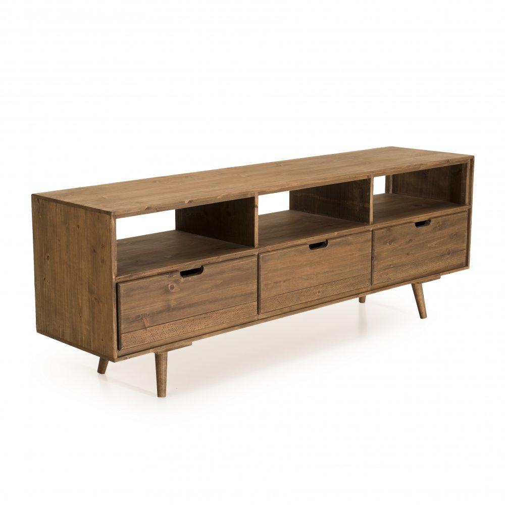 meuble tv scandinave 3 tiroirs andy en bois sapin