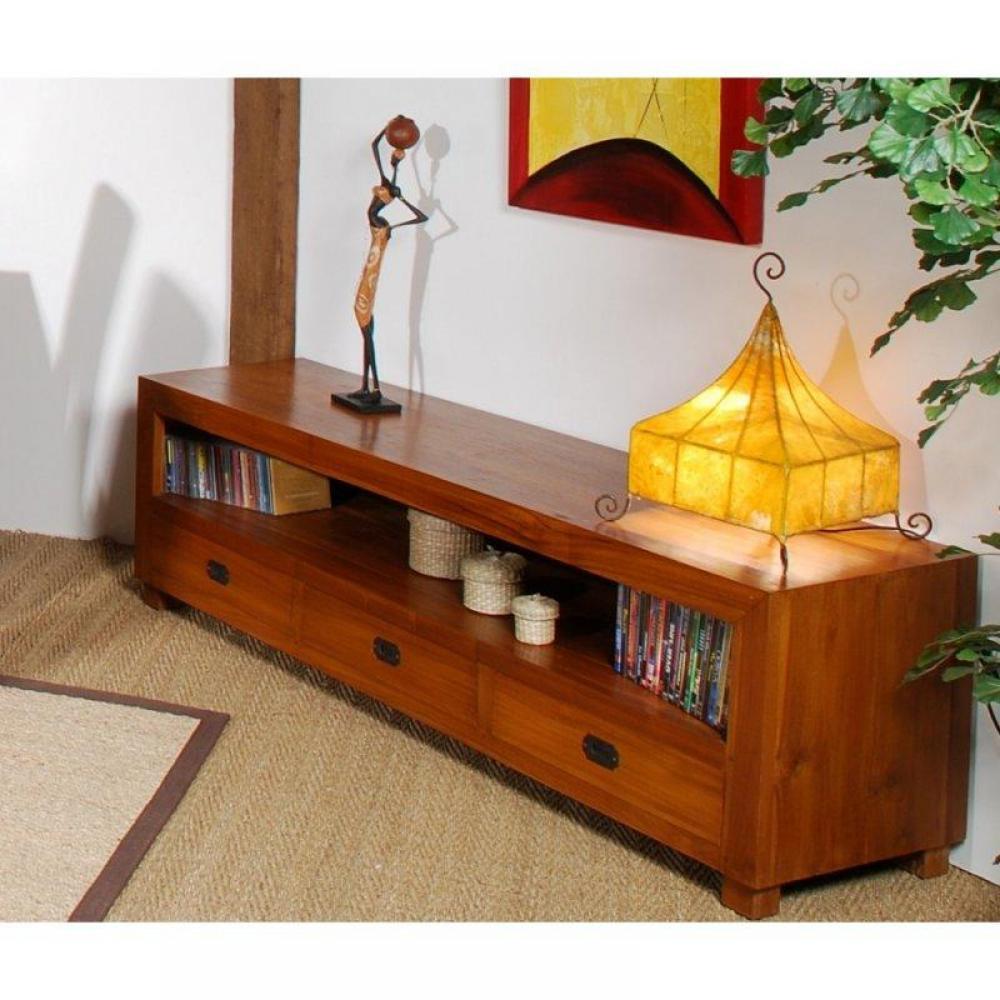 meuble tv 175cm 3 tiroirs colonial en teck massif