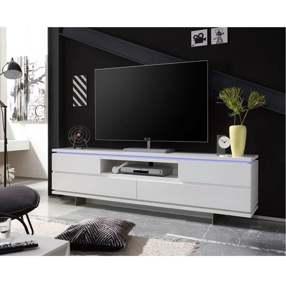 meuble tv bale laque blanc mat 4 tiroirs 1 niche led inclus